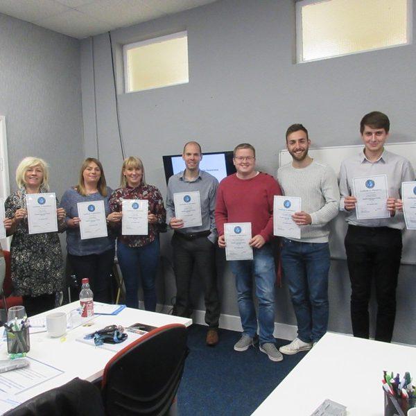 Delegates from Rhondda Cynon Taf and Merthyr Council receiving their certificates