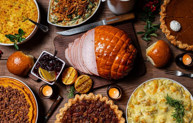 image of Thanksgiving foods from above