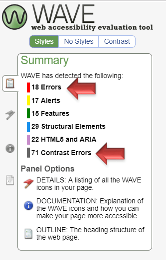 Screenshot of Wave Accessibility Tool. Under the Summary, it states WAVE has detected the following: 18 Errors, 17 Alerts, 15 Features, 29 Structural Elements, 22 HTML5 and ARIA, and 71 Contrast Errors. Errors and Contrast Errors are pointed out.