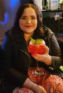 Lizzie with her cocktail