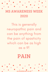 This is generally neuropathic pain and can be anything from the pain of spasticity which can be as high as a 9 on the pain scale,
