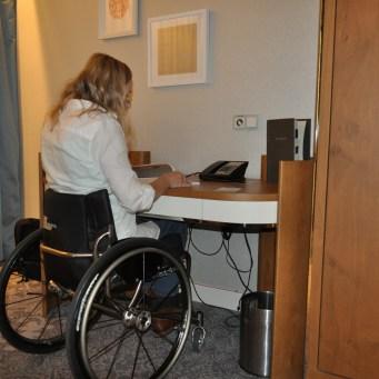 Melanie at the desk Hilton