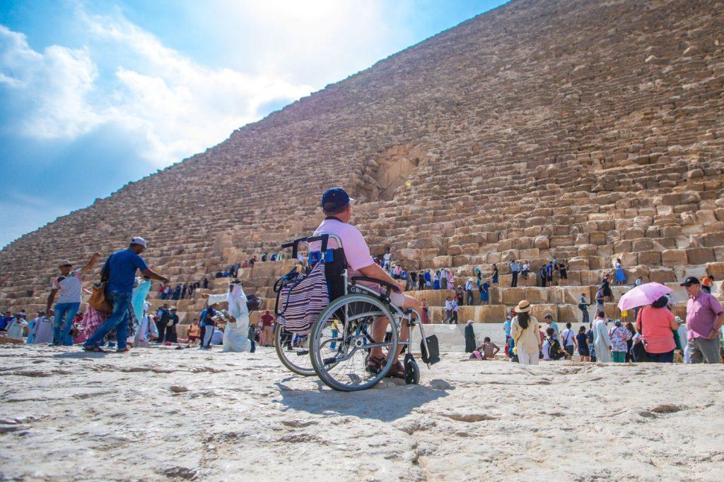 tourist at pyramid egypt