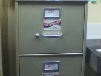 two drawers full of college information, both out of state and in-state