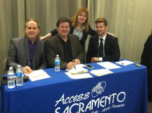 Sacramento Has Talent Judges (from Left) Steve Bloom, Jerry Perry, non-judge Access Sacramento board member Simone Vianna and Jon Wayne.