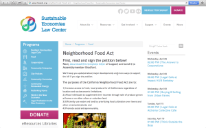 Visit http://www.theselc.org/neighborhood-food-act to sign the petition for the Neighborhood Food Act.