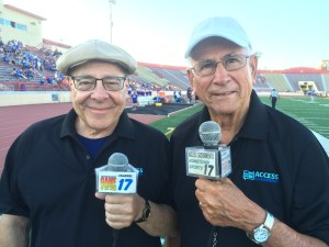 Access Sacramento Announcers Will James and Jim Dimino on the sidelines at Sacramento City College's Hughes Stadium.