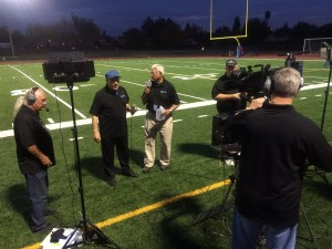 Access Sacramento's Game of the Week crew at a recent game with Announcers Will James (left) and Jim Dimino plus camera operator Kevin Knight.