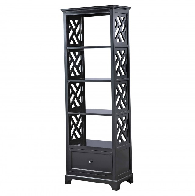 Black Bookcase With Drawers