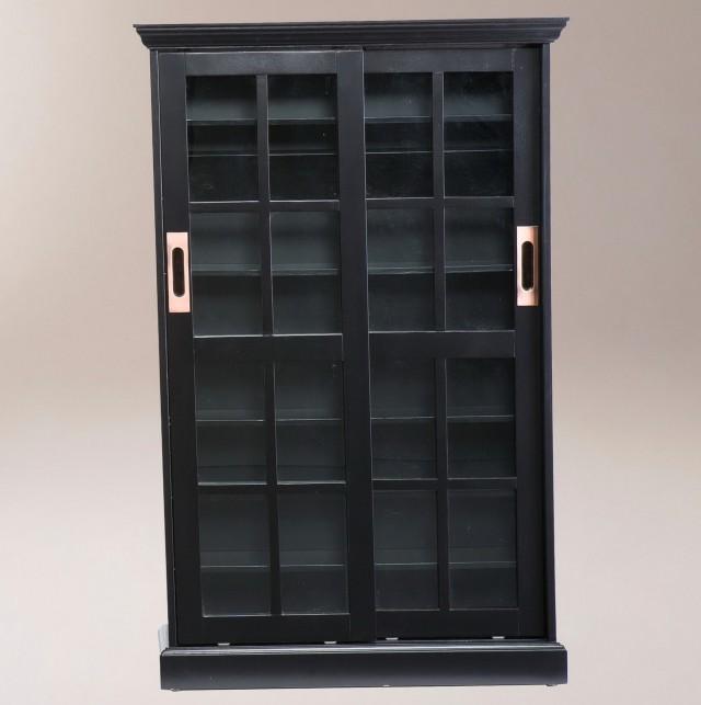 Black Bookshelf With Glass Doors