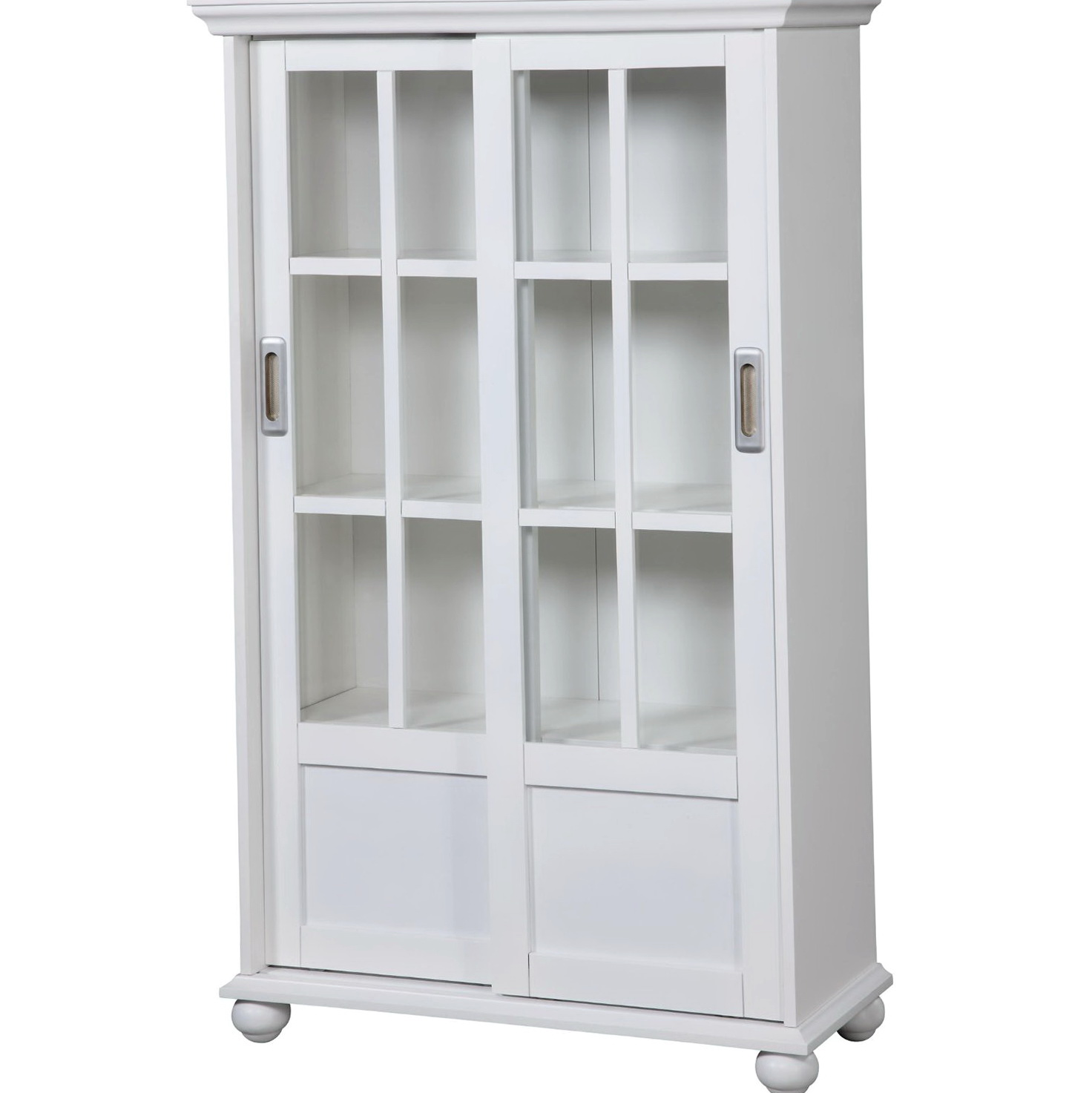 Glass Door Bookcase White