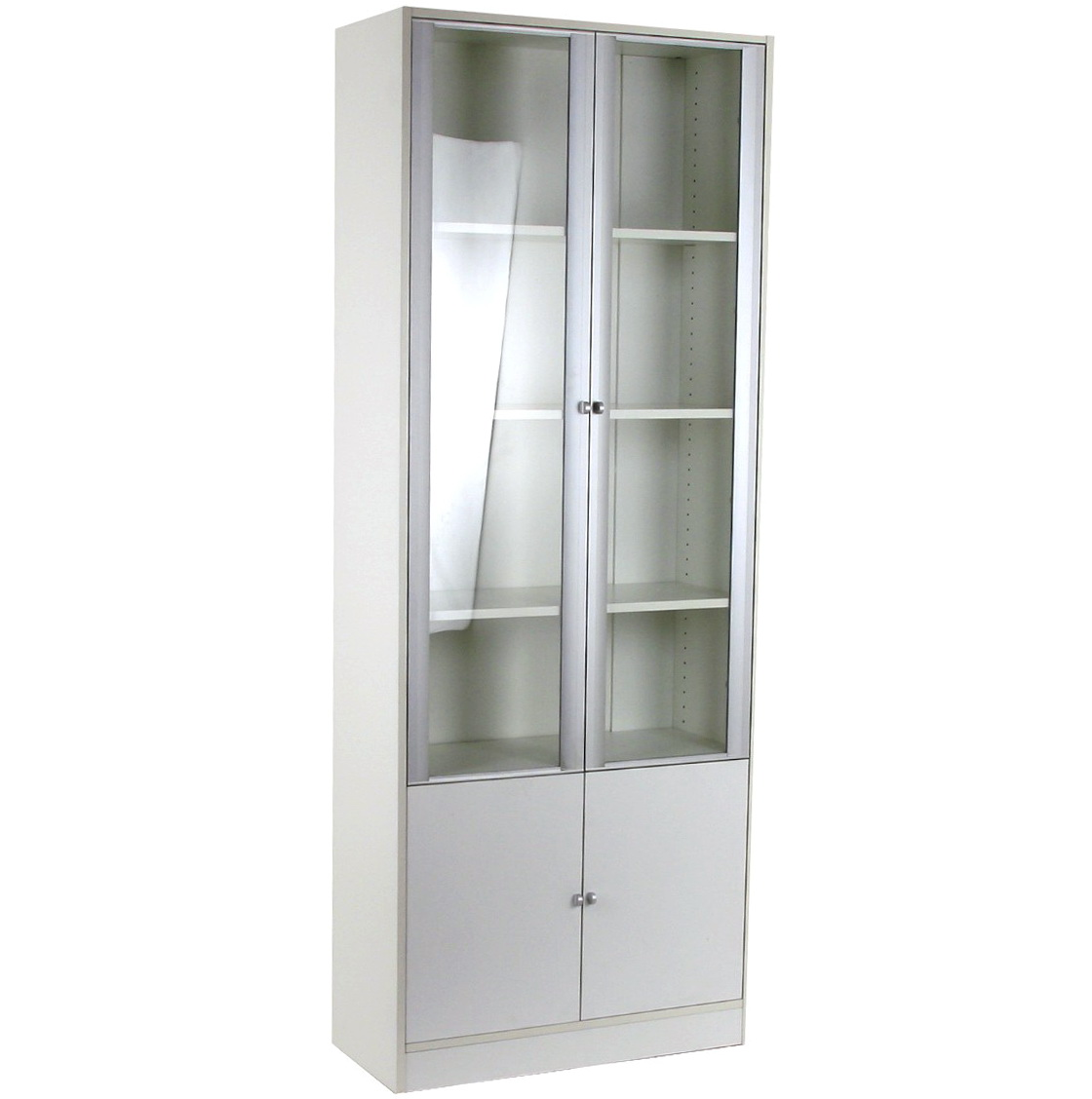 Narrow White Bookcase With Doors