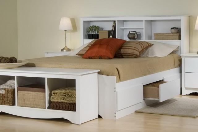 Queen Bookcase Headboard Storage Bed