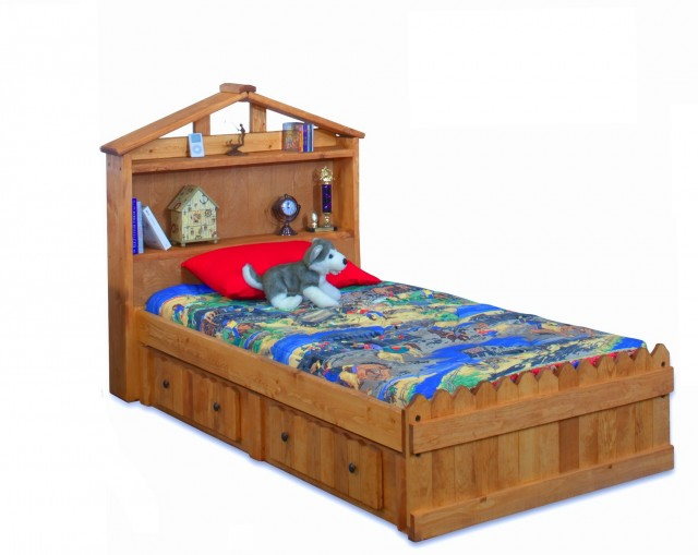 Twin Bookcase Headboard Storage Bed