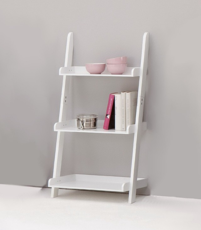 White Bookshelves With Ladder