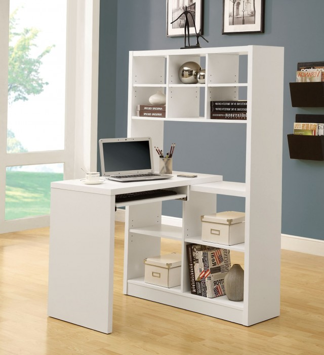 White Desk With Bookshelf