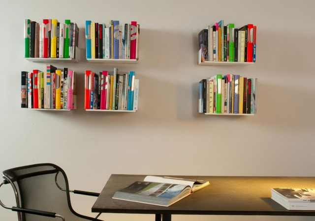 White Wall Mounted Bookshelves