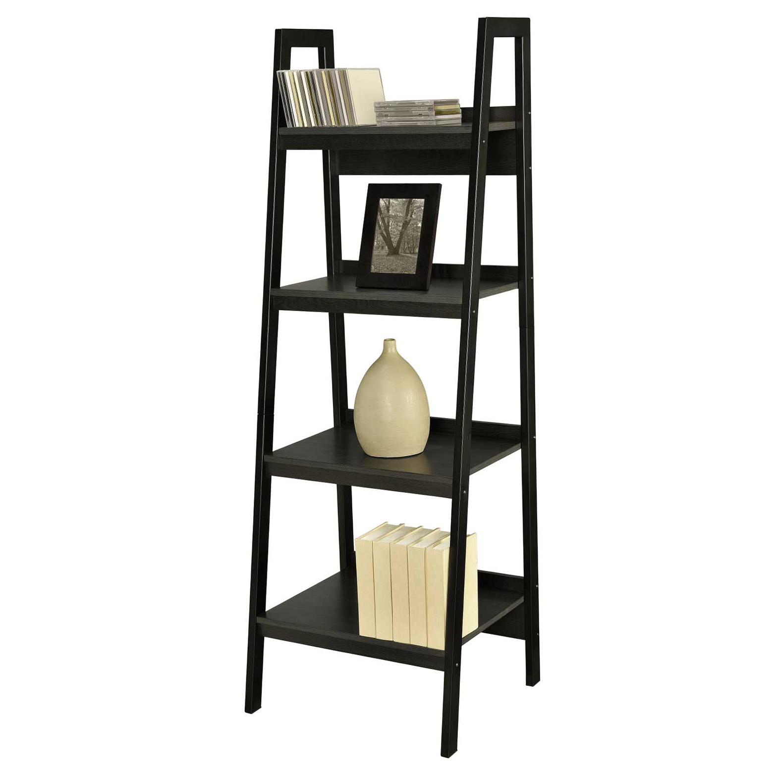 Wooden Ladder Shelf Bookcase