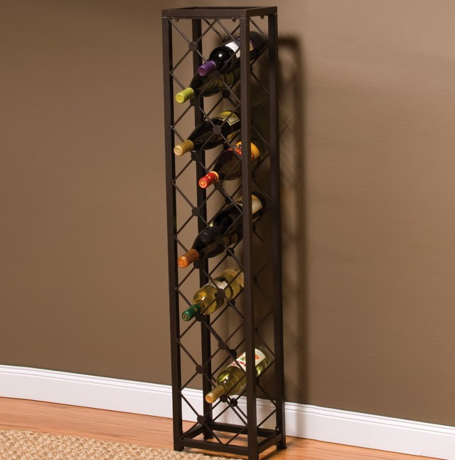 Black Wine Rack Tower