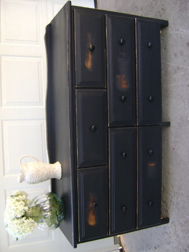 Distressed Dark Wood Dresser