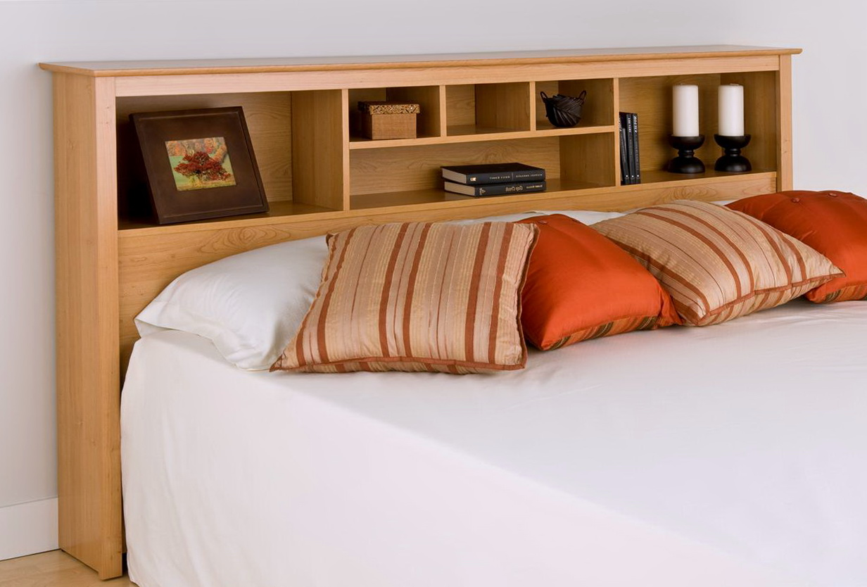 King Bookcase Headboard With Lights