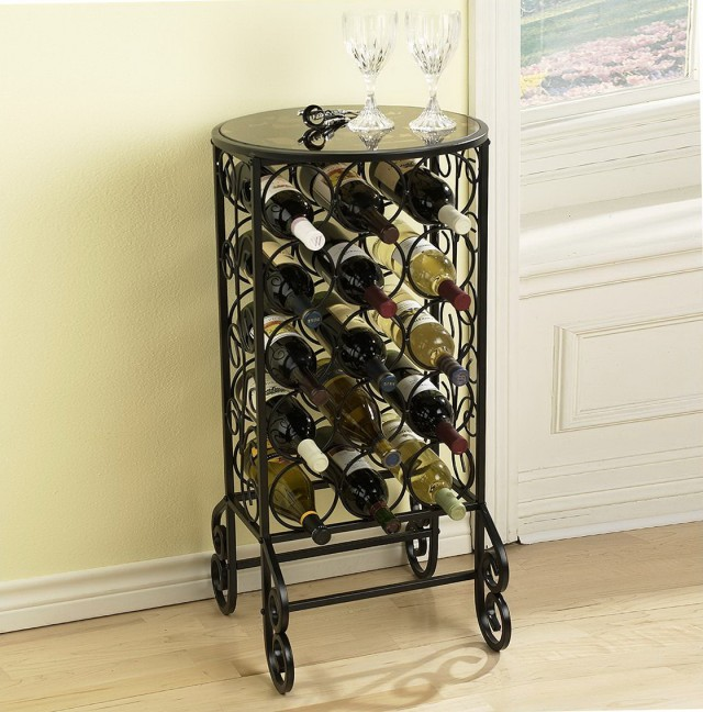 Metal Wine Rack With Glass Top