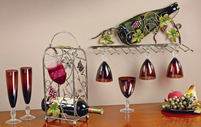 Tabletop Wine Rack With Glass Holder