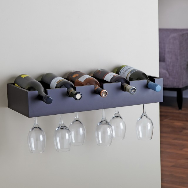 Wall Mount Wine Rack With Glass Holder
