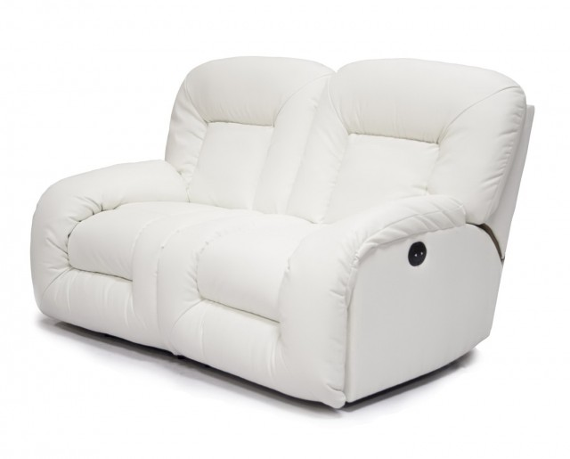 White Leather Loveseat Recliner