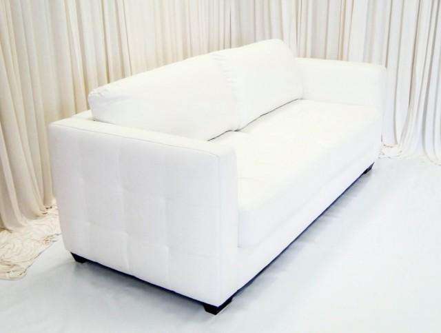 White Leather Loveseat Rental