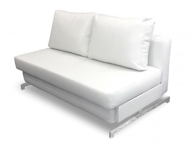 White Leather Loveseat Sleeper