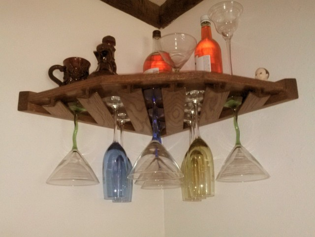 Wooden Wine Rack With Glass Holder