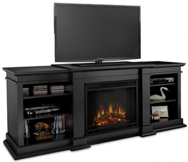 Black Entertainment Center With Electric Fireplace