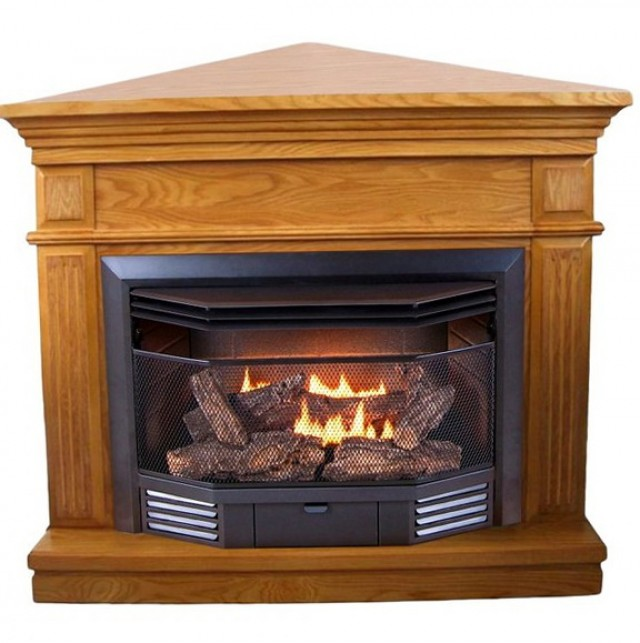Corner Natural Gas Fireplace Ventless