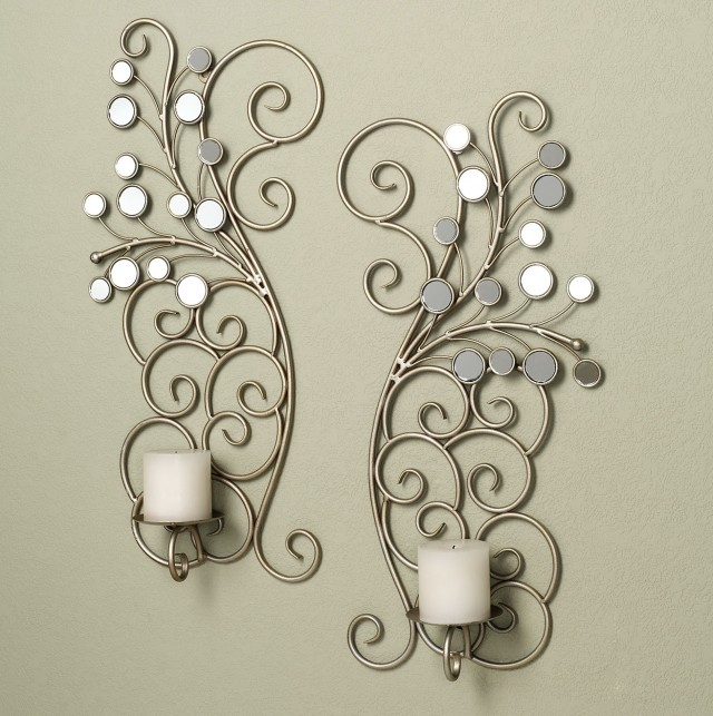 Mirrored Candle Sconce Set