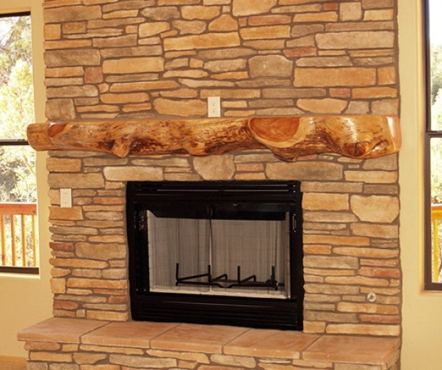 Natural Wood Fireplace Mantels