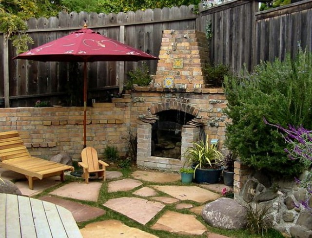 Outdoor Brick Fireplace And Grill