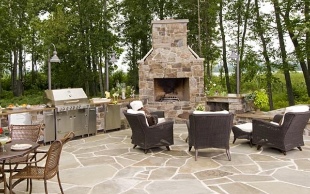 Outdoor Fireplace Kitchen Designs