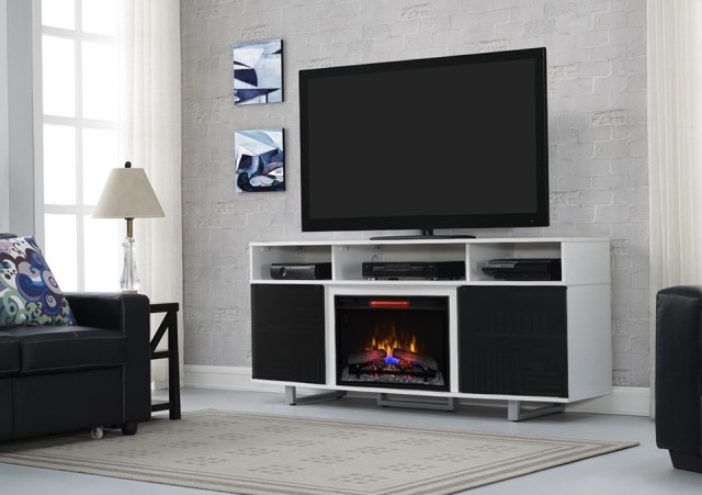 White Electric Fireplace Entertainment Center
