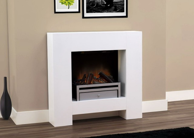 White Electric Fireplace Suite