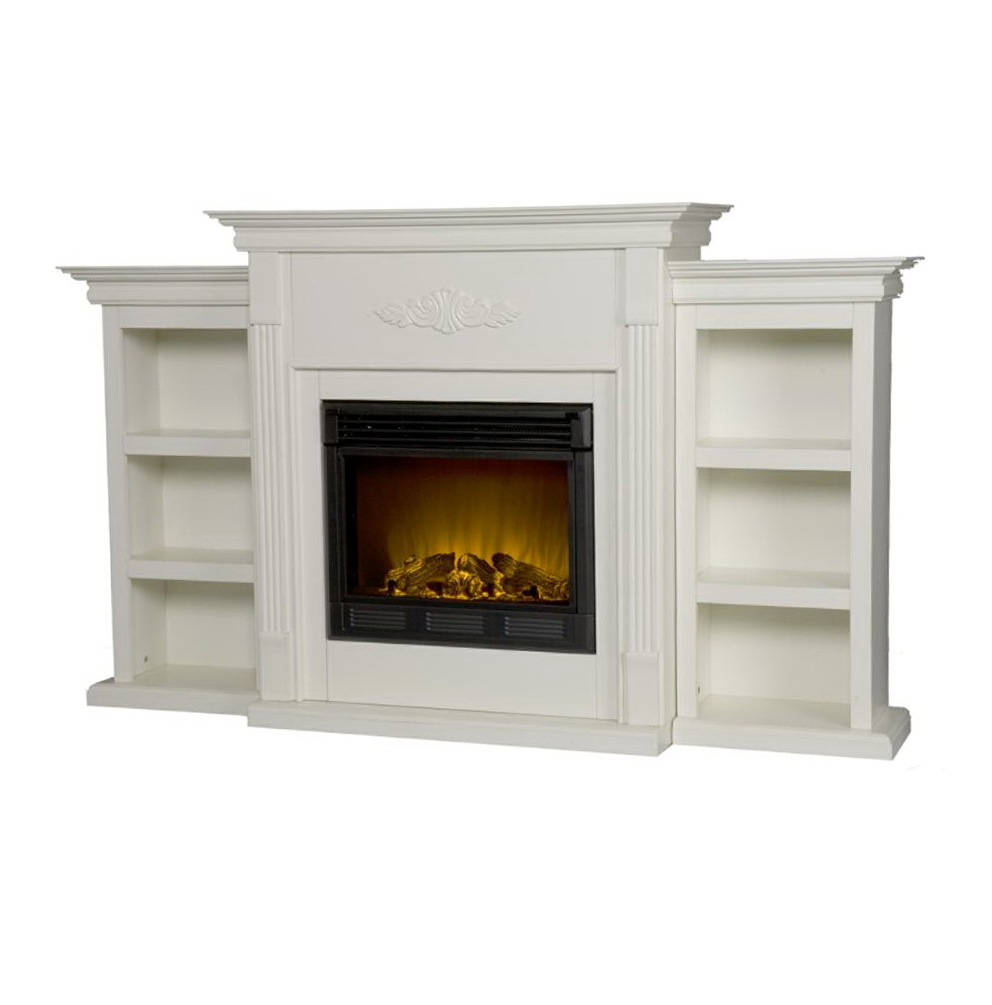 White Electric Fireplace With Bookcase