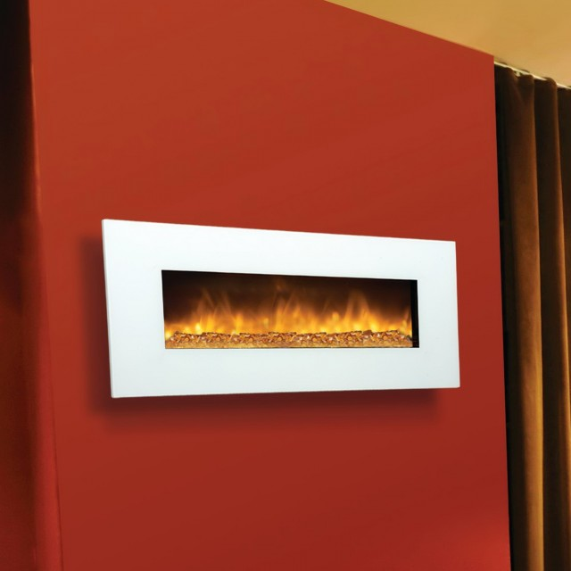 White Wall Mounted Electric Fireplace