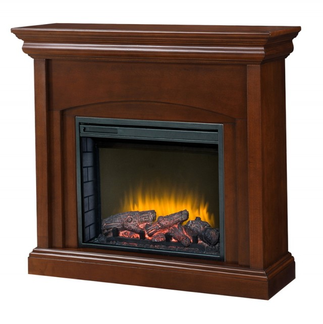 Charles Mill 46 In. Convertible Media Console Electric Fireplace In Dark Cherry