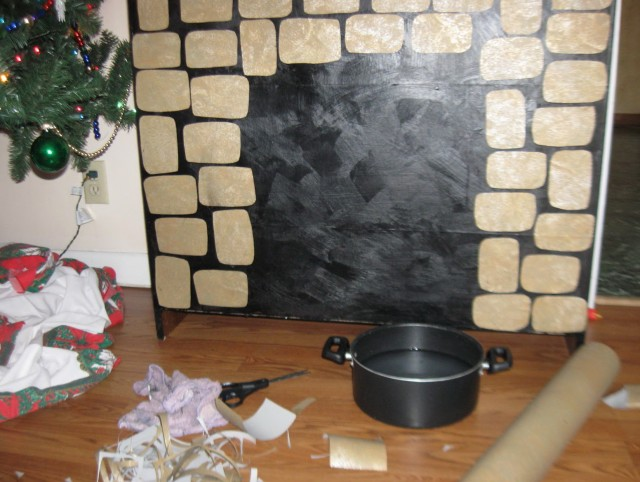 Construction Paper Fireplace Wall Decoration