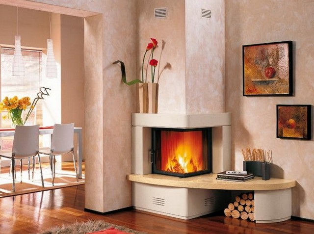 Corner Wood Burning Fireplace Dimensions