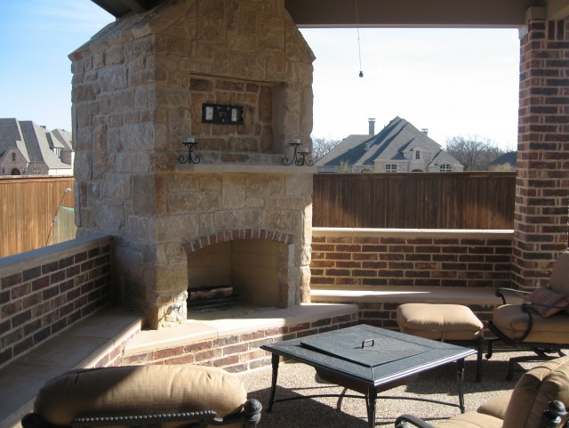 Covered Patio With Fireplace And Tv
