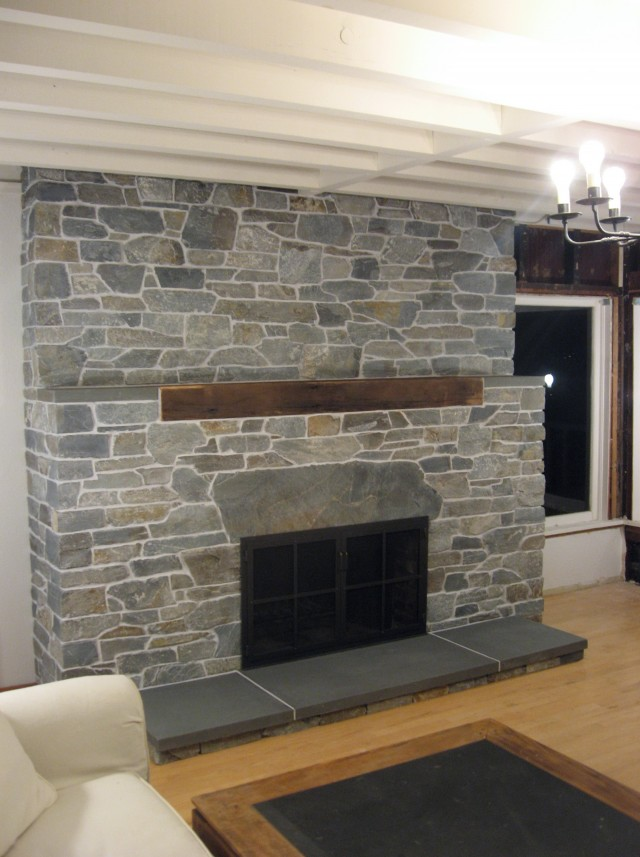 Covering Brick Fireplace With Stone Veneer