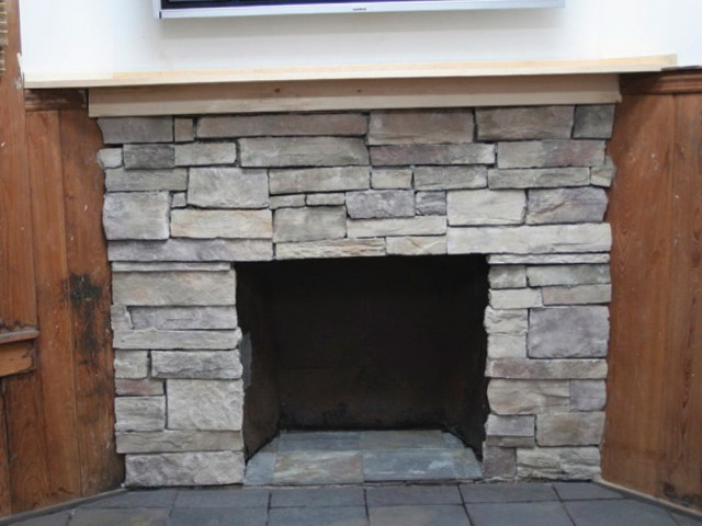 Covering Old Brick Fireplace With Stone