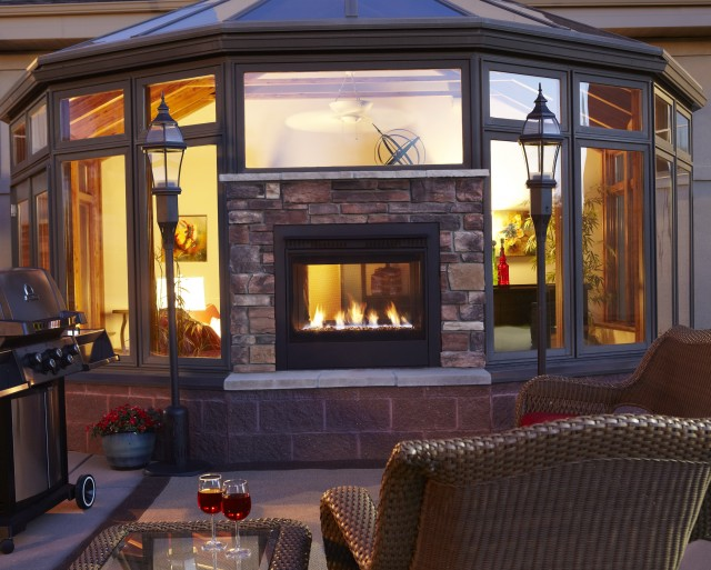 Double Sided Gas Fireplace Inside Outside