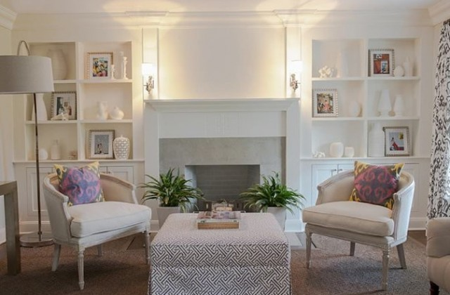Fireplace With White Built Ins